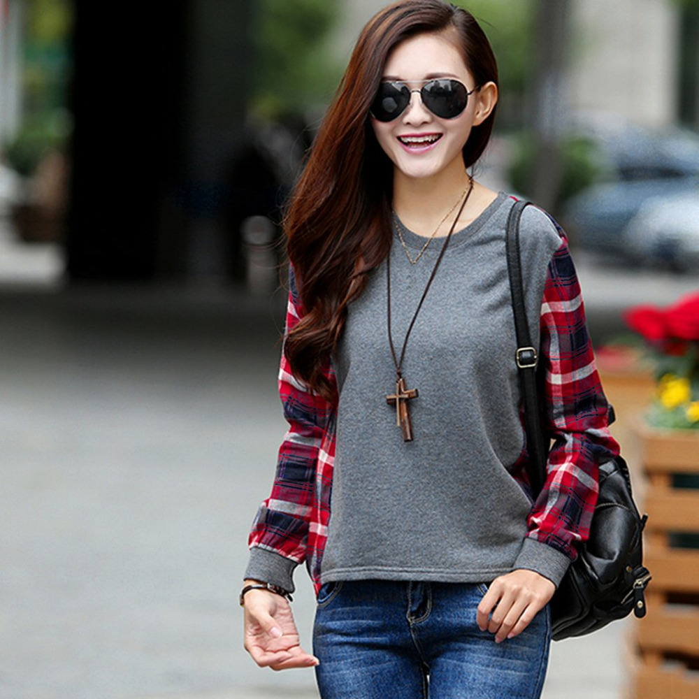 Women Thin Tops Loose Blouses Tops Casual Shirts Stitching Plaid Long Sleeved  Pullover Sweatshirts O-Neck Shirt Autumn New