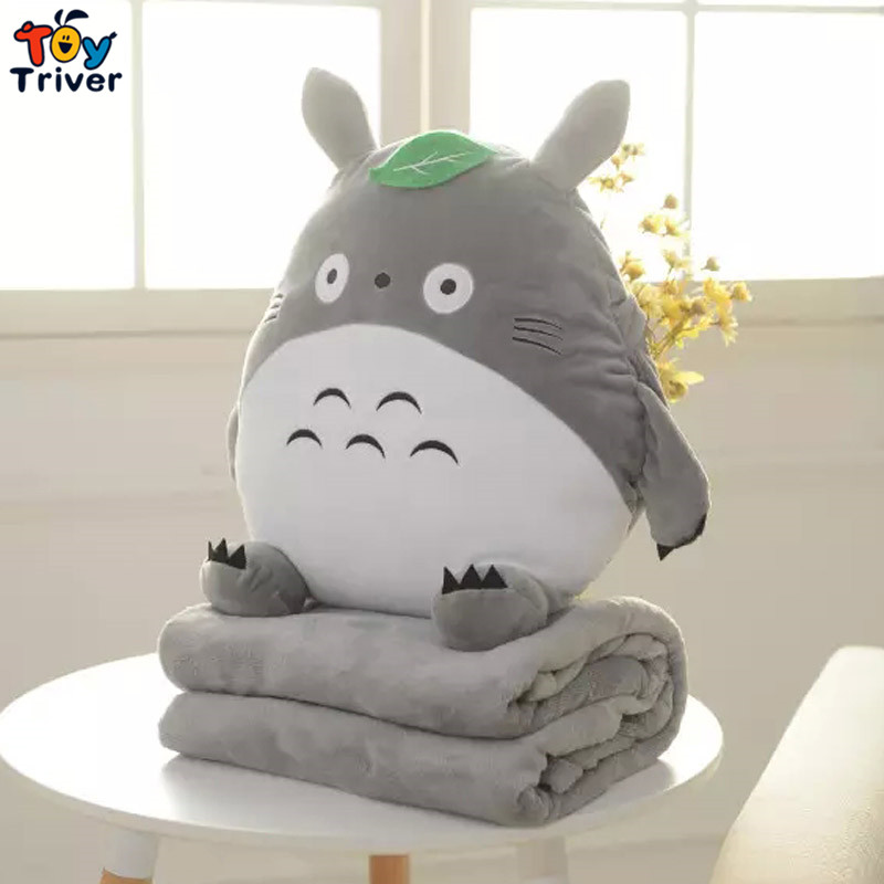 Triver Toy New Cute Cartoon Totoro Cat Coral Fleece Air-Condition Sofa Office Nap TV Travel Portable Blanket  Toy Hand Warmer