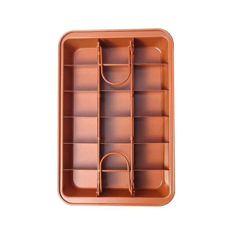 Антипригарный противень для печенья олова с разделителями, сверхмощный разделить домовой лоток, 18-полости, 12, 8 дюймов, темно-золотой