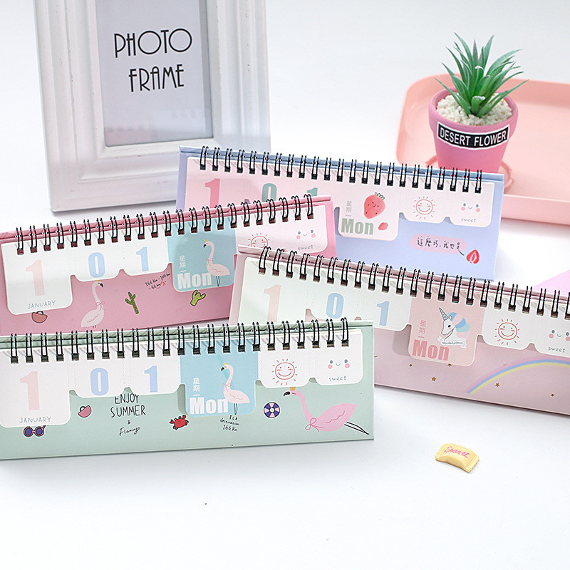 Calendar Cooperative Coloffice Life Series Random Creative Simple Perpetual Calendar Small Fresh Desk Calendar Office&school Supplies 9.3*22cm 1piece Promote The Production Of Body Fluid And Saliva