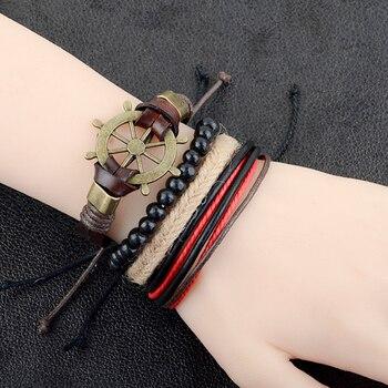 Pulsera de moda europea para hombre, cadena de cuero con timón y cuentas de madera, pulsera tejida con cuerda de cáñamo, novedad de 2017