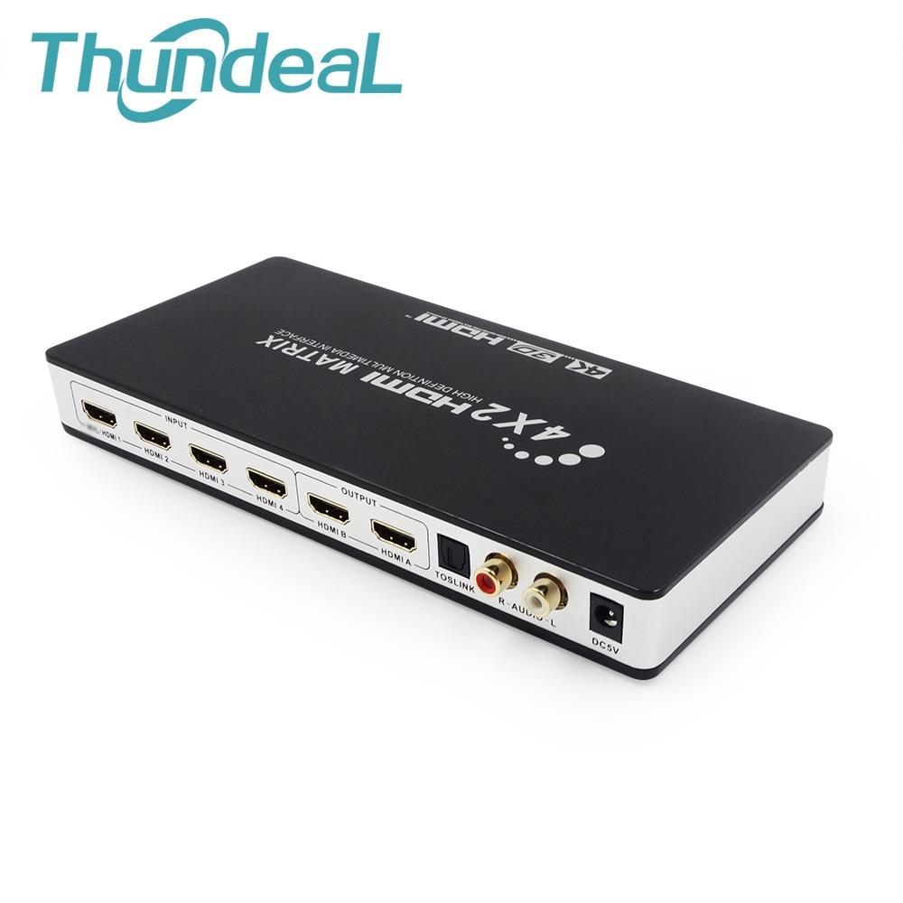 HDMI Матрицы Full HD 4 К 2 К 3D 1080 P HDMI матричный коммутатор 4x2 Splitter конвертер адаптер С Пульт дистанционного Управления + TOSLink SPDIF Audio