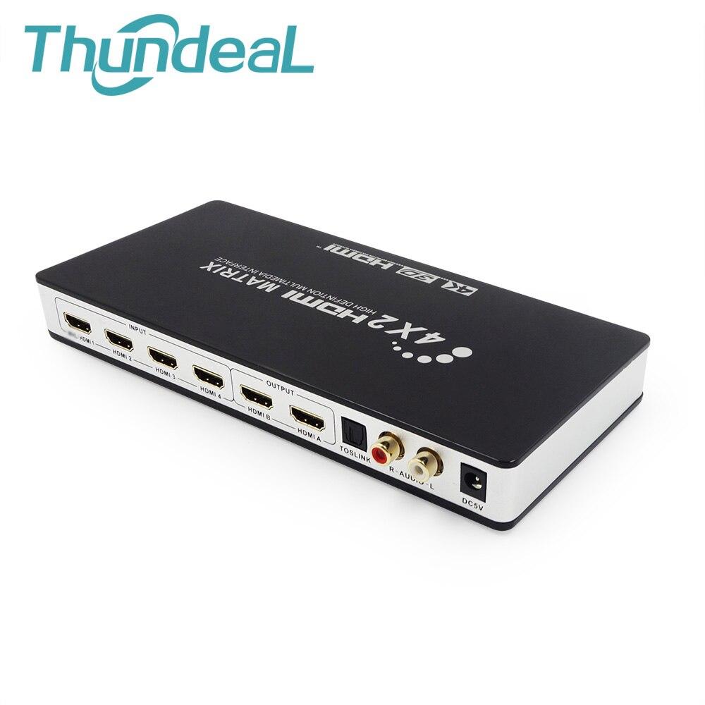 HDMI Matrix Full HD 4 k 2 k 3D 1080 p HDMI Matrix 4X2 Interruttore Splitter Adattatore del Convertitore con Telecomando + Toslink SPDIF Audio