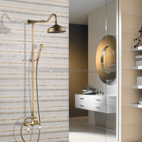 Antique Brass Bathroom Shower Faucet Set Double Handle 8 Rainfall Shower System with Handshower Nan502