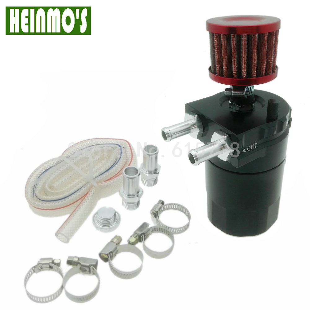 Free Shipping Aluminum Black Baffled Oil Catch Can Reservoir Tank Oil Catch Tank With Mini Filter