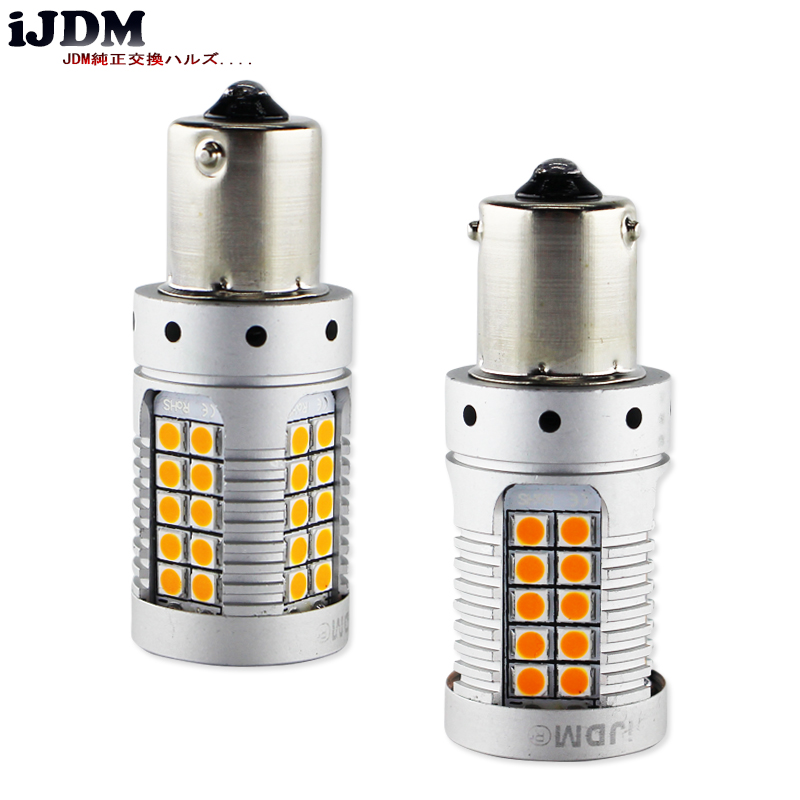 iJDM Car BAU15S LED No Hyper Flash Amber Yellow 48 SMD 3030 LED 7507 PY21W LED Bulbs For Turn Signal Lights Canbus Error Free in Signal Lamp from Automobiles Motorcycles