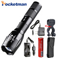 6000 Lumens 5-Mode CREE T6 LED Flashlight with charger Zoomable rechargeable Focus Light Torch Lantern by 1*18650 or 3*AAA