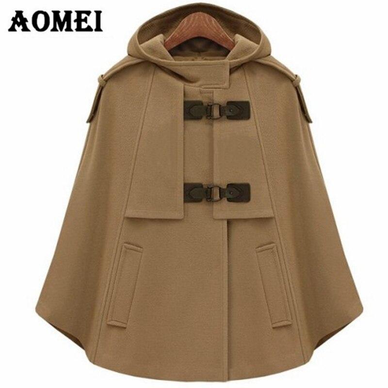 Женская осенне-зимняя шерстяная накидка, плащ с капюшоном и карманом, теплая Женская Осенняя верхняя одежда в Европейском стиле, Manteau Femme - Цвет: CAMEL
