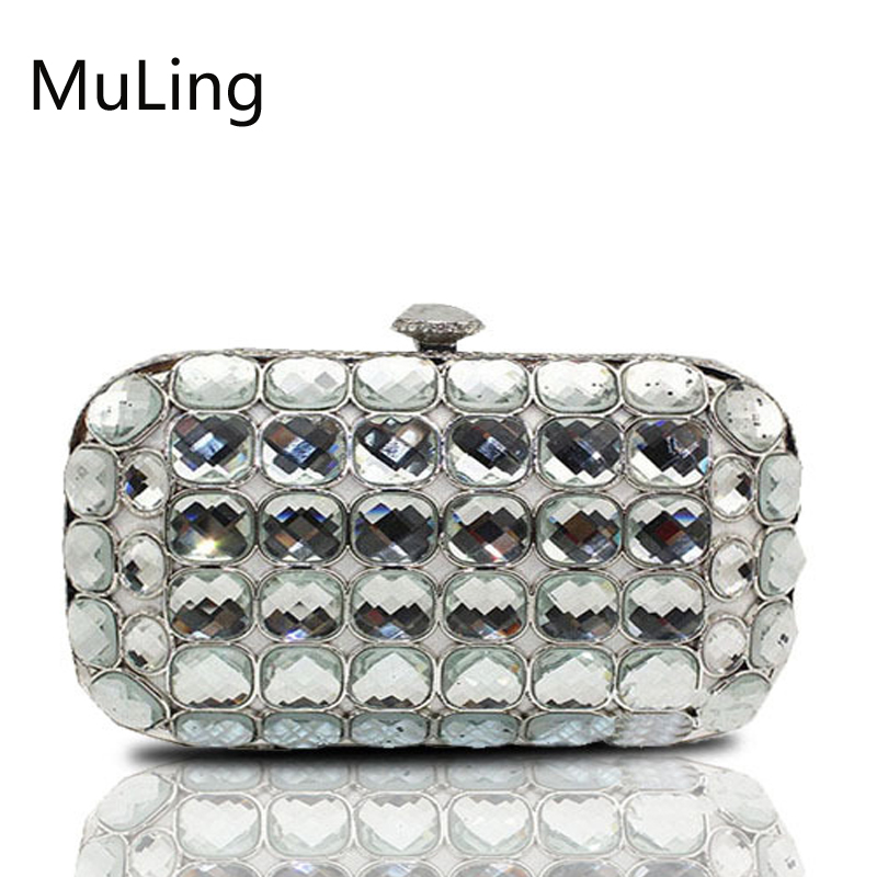 New Brand Luxury Diamond Crystal Bling Women Evening Bag Cluth Bag Messenger Bag Bling Party Wedding Small Purse Handbag Silver