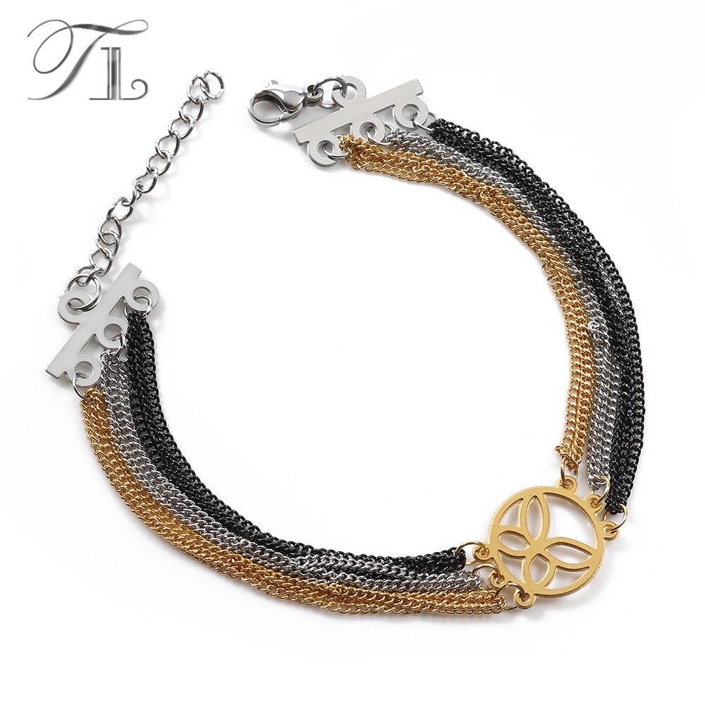 TL Double Coeur Amour/Papillon/Rose Fleur Multi-couche Charme Bracelets et Bracelets pour les Femmes Or Argent noir Couleur Strand Bracelet