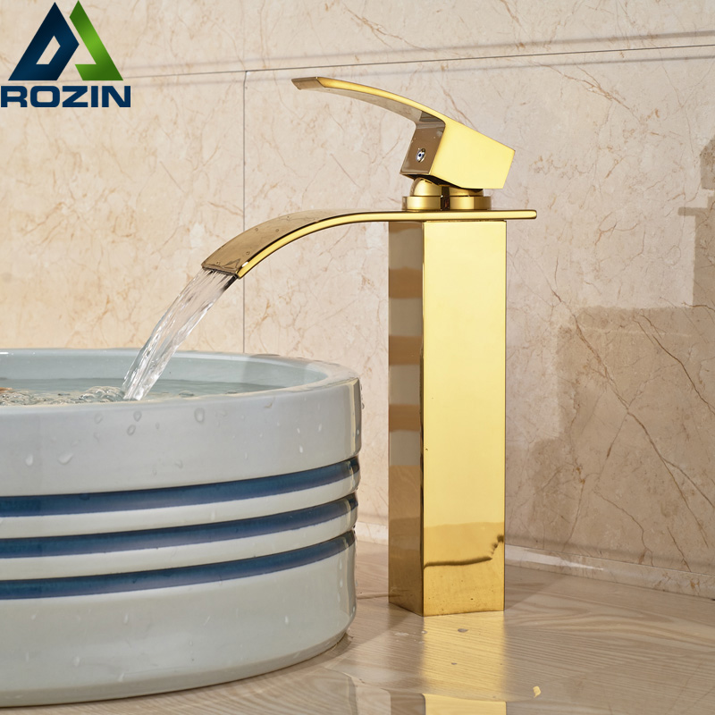 Golden Brass Single Handle Waterfall Vanity Sink Basin Faucet Countertop Single Handle Mixer Taps antique brass and golden bathroom washing basin faucet single handle brass short vanity sink mixer taps