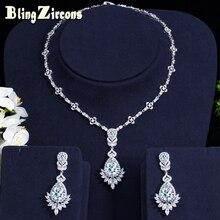 8169dc1c46e9 BlingZircons de alta calidad AAA Cubic Zirconia pendientes de novia y  collar conjuntos de joyería de disfraces para mujeres banq.