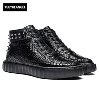 Rivet Punk Style Mens Genuine Leather Breathable Lace Up Male Casual Shoes Thick Bottom High Heel