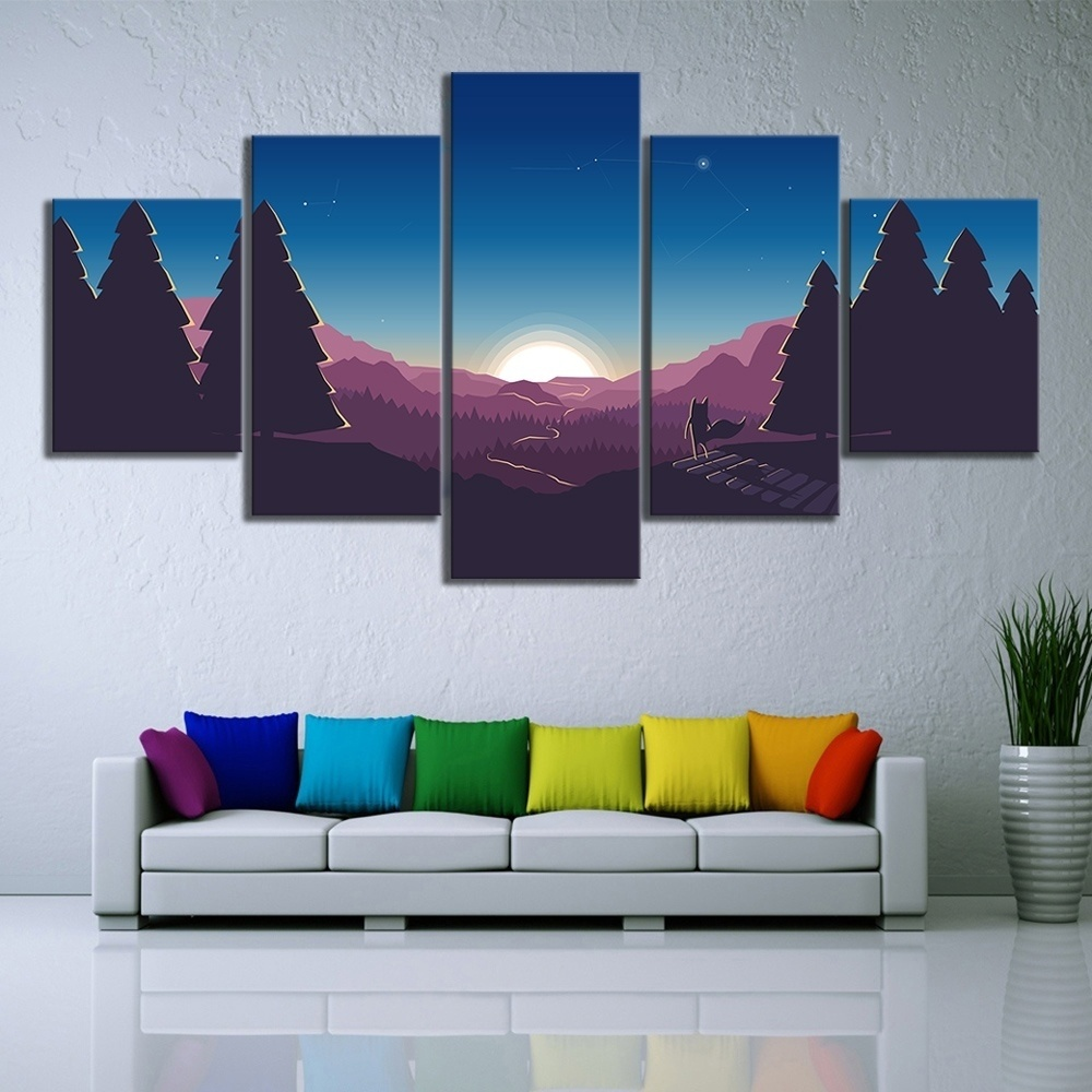 HD Cartoon Pictures Nature Scenery Sunrise Landscape Painting on Canvas Wall Art for Home Decor 2