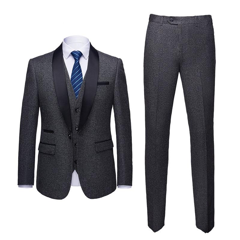 New Style Dark grey Groomsmen Shawl Lapel Groom Tuxedos One Button Men Suits Wedding Best Man Blazer ( Suit jacket+Pants+Vest )