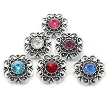 Wholesale 5 Color High Quality Charm Rhinestone Styles Alloy 18mm Snap Button Bracelet For Woman Snap Button Jewelry 010609(China)