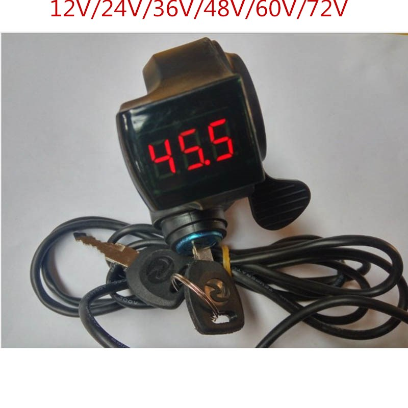 24V/36V/48V/60V/72V Finger Thumb Throttle With Power Switch LCD Display Switch Handlebar Grips For Electric Bike/scooter