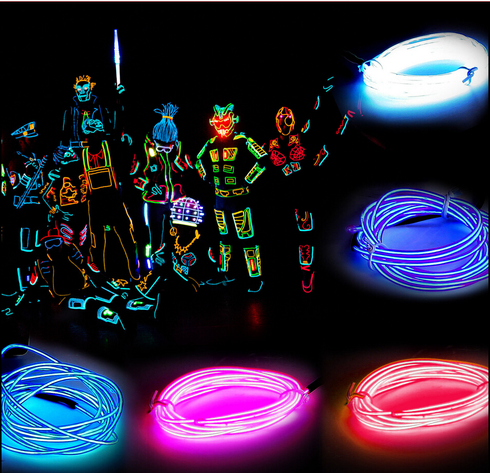 1M /2M /3M /5M Flexible Led Neon Light Glow EL Wire Rope Tube Cable+ ...