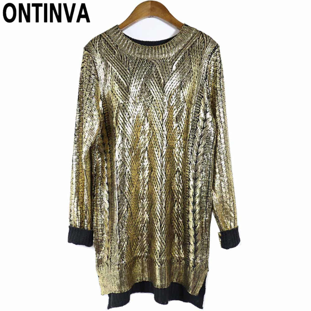Women Knitted Pullovers Sweaters Sequin Fashion Golden Loose Oversized Womens Jumpers 2019 Mujer Long Sleeve Winter Sweaters
