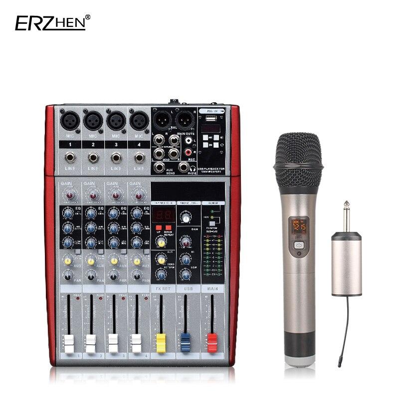 Audio Mixer Console W6000T4 Professional Mixer Audio Amplifier Sound Processor 4 Channel professional 4 channel live mixing studio audio sound console network anchor portable mixing device vocal effect processor