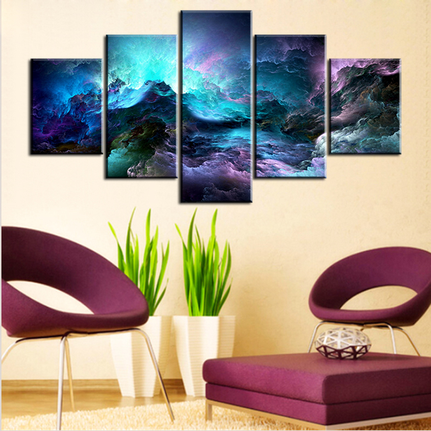 Light Blue Bathroom Wall Art Canvas Or Prints Blue Bedroom: 5 Pc Set Light Blue Abstract Cloud NO FRAME Oil Painting