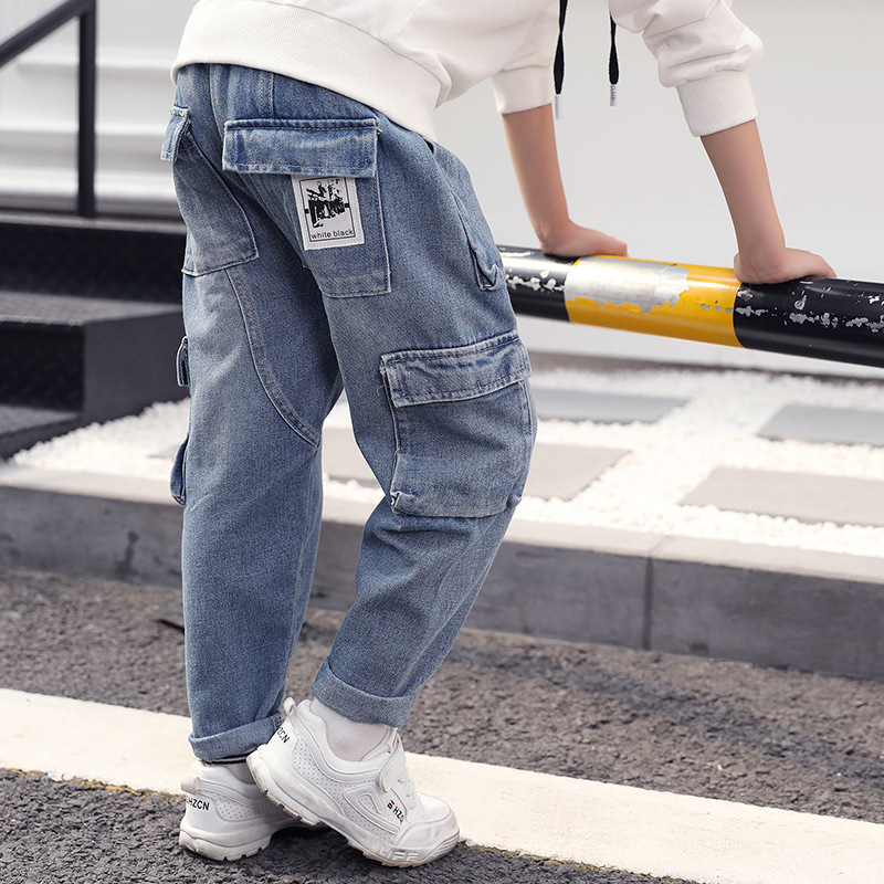 Boy Jeans 2018 New Fashion Denim Pant Harem Fall Trousers Big Boy Clothes Teenager Jeans For Boys Autumn Winter Clothing 9 10 12 new straight jeans autumn winter men s loose cowboy denim trousers plus size 28 44 46 48 man jeans bottoms