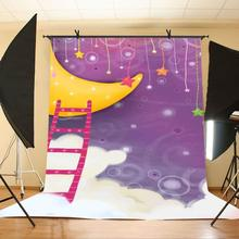 150x220cm Childlike Cartoon Drawing Backdrop Moon Ship Photography Background Children Photo Shooting Props