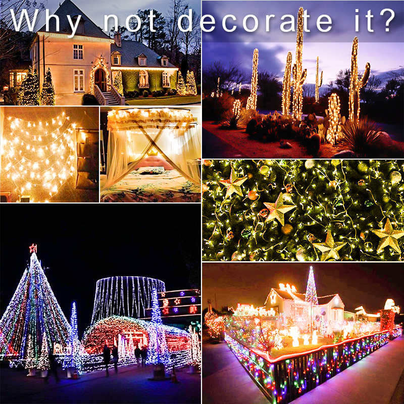 10M 20M 30M 100M Waterproof LED Fairy String Lights Garland Christmas Party Wedding Xmas Holiday Lights Outdoor Home Decoration 6
