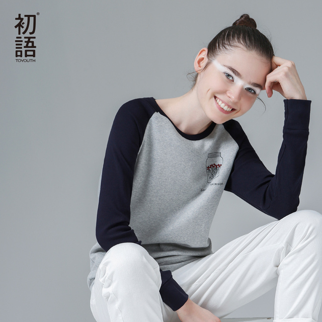 Toyouth Brand Spring Women's Fashion Cotton T-shirt  Casual Loose Patchwork Embrodiery Long Sleeves Tee Top Free Shipping