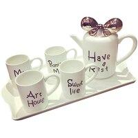 Костяного фарфора день Чай комплект Красочные чашка и блюдце полный набор Кофе чашки бантом крышка Чай горшок Изящные посуда с большой Лото