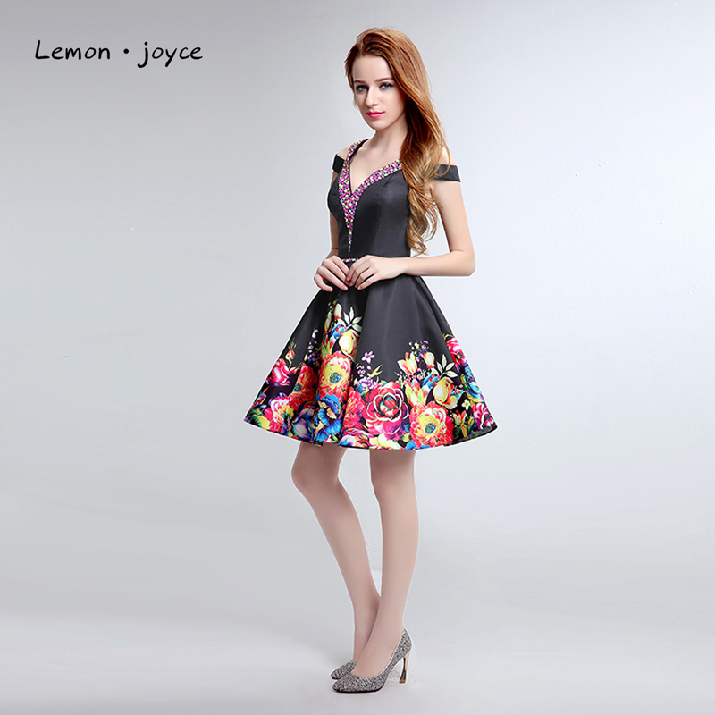 2016 New Fasion Cocktail Dresses Spring Flower Print Douple V Black Dress Girl Off The Shouder Crystal A Line Vestido De Festa cocktail dress