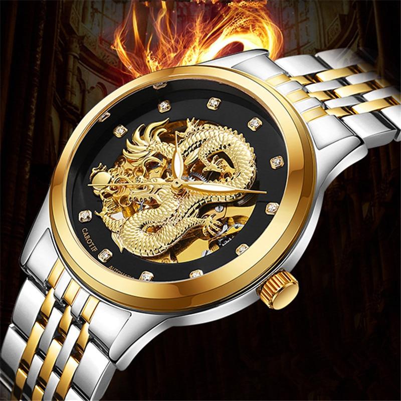 Dragão de luxo Mecânico Automático relógios de Pulso reloj hombre montre Relógio Masculino Relógio Dos Homens de Aço À Prova D' Água Cheia erkek kol saati