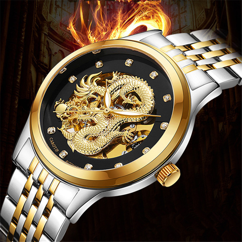 Luxury Automatic Mechanical Dragon Wristwatches reloj hombre Waterproof Full Steel Mens Watch montre Male Clock erkek kol saatiLuxury Automatic Mechanical Dragon Wristwatches reloj hombre Waterproof Full Steel Mens Watch montre Male Clock erkek kol saati
