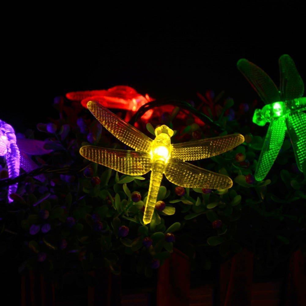 6.5m 30 luces de cadena de energía solar de libélula led, led impermeable paisaje de hadas cerca jardín de su casa patio luz de cadena de Navidad