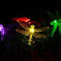 Comparar 6,5 m 30 luces led de cadena de energía solar libélula, led impermeable hadas paisaje valla casa jardín patio guirnalda navideña de luces