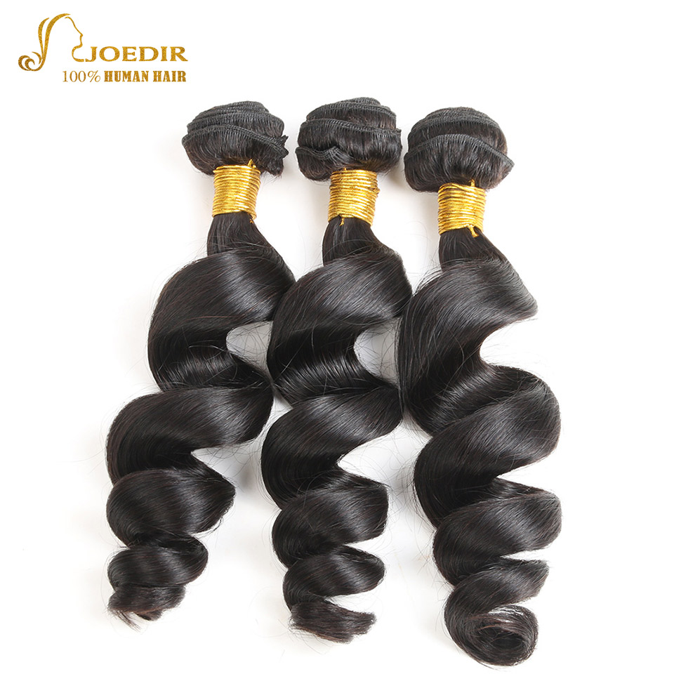 Joedir Hair Brazilian Loose Wave 3 Bundles Lot 100% Human Hair Extensions Non Remy Hair Weave Bundles Natural Color Free Ship