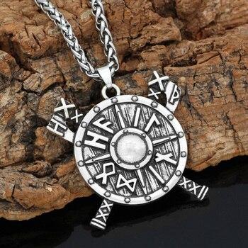 Norse Viking Shield Rune Axe Talisman Circle Pendant Necklace  Viking Necklace