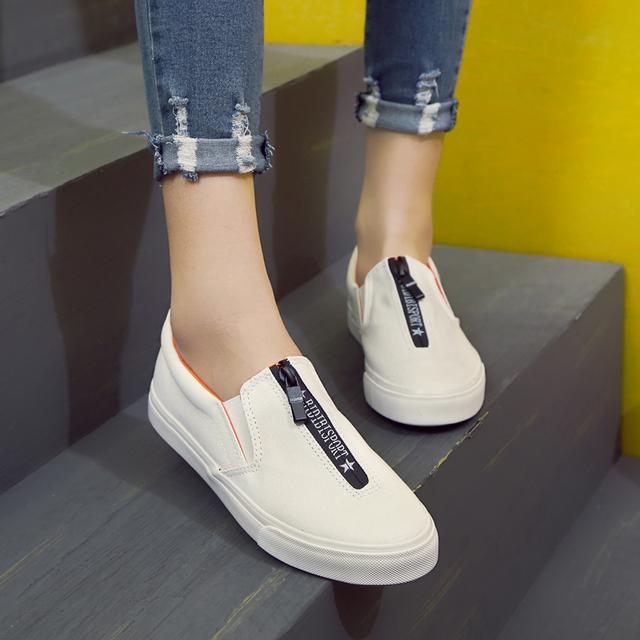 Envío de La Manera 2017 de Primavera y Verano de Lona Zapatos Casual Slip-on Transpirable Tamaño de Los Zapatos de Lona de la Plataforma de Las Mujeres 35-40