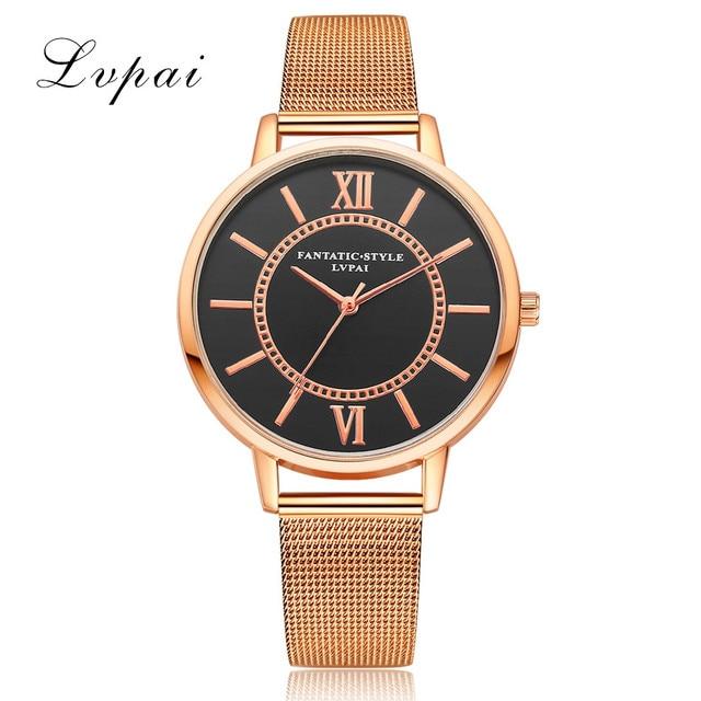 86f3f243615 LVPAI Ouro Rosa de Ouro Sliver Mulheres Relógio De Quartzo-Relógio Feminino  Preto