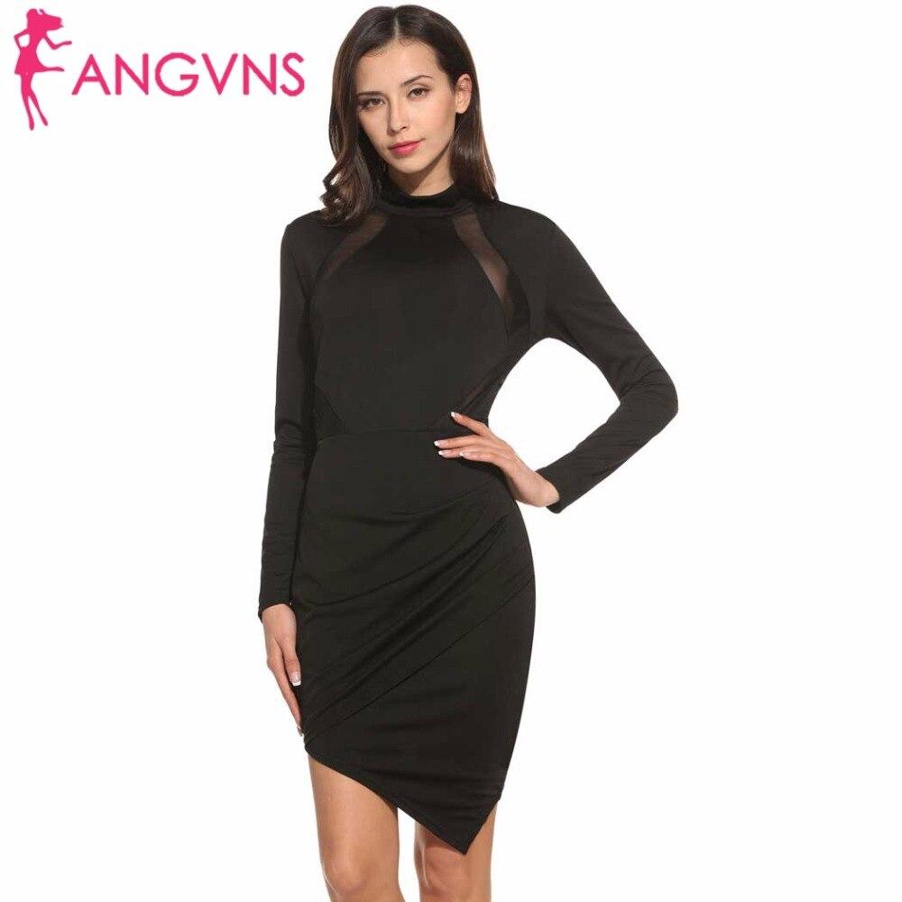 ANGVNS Bandage Dress Women 2017 Vestidos Turtleneck Elegant Summer Full Sleeve Casual Party Draped Tight Dresses S/M/L/XL/XXL
