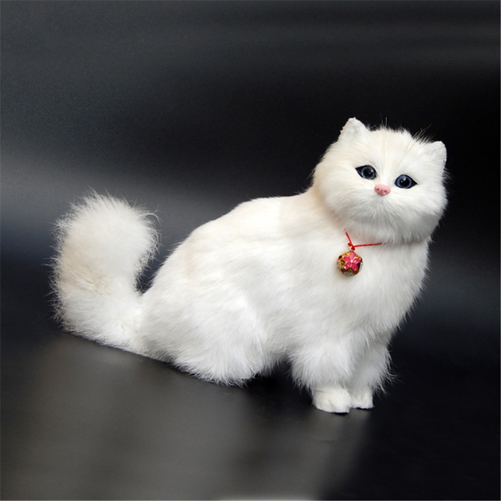 Fancytrader Simulation White Cat with Bell Toy Model Handicraft Animals Cat Doll Plastic& Fur 22cmx20cm