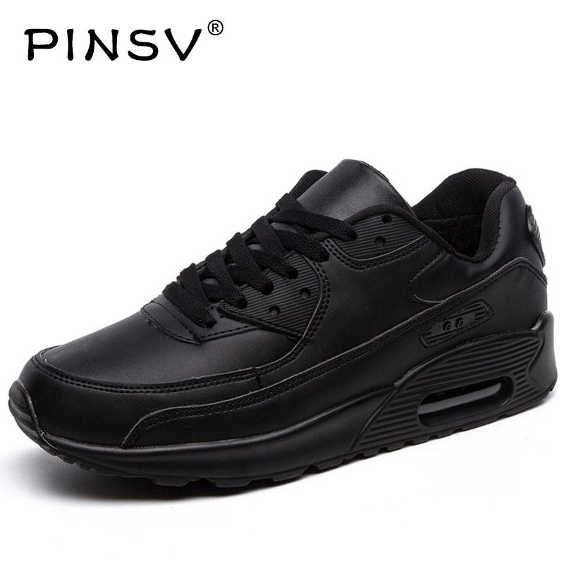 PINSV Winter Sneakers Shoes Men Black Sneakers Women Running Shoes For Men Sports Shoes Air Cushion Buty Sportowe With Fur