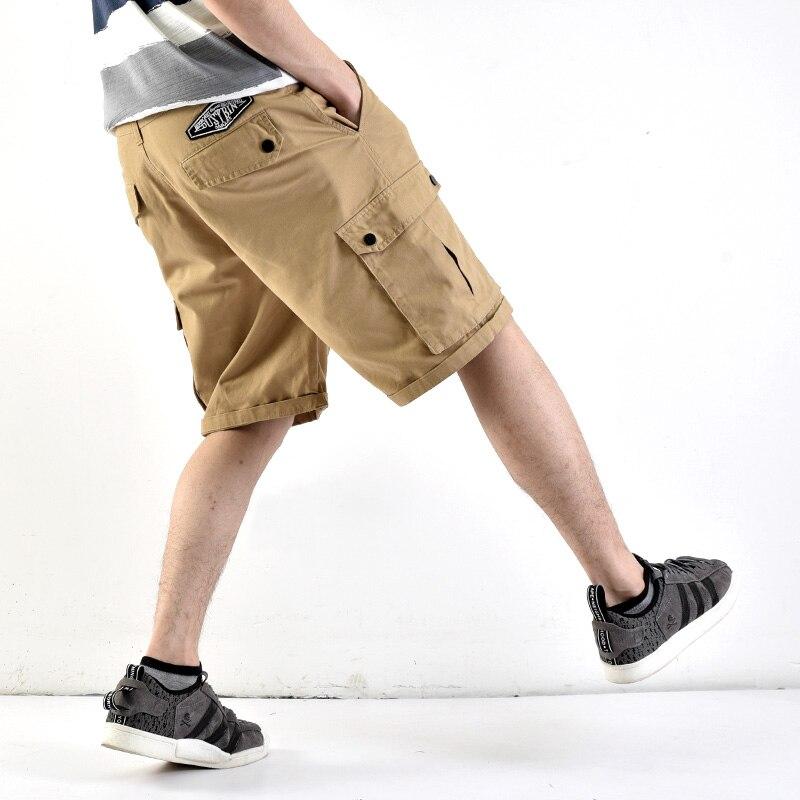 Japanese Style Summer Fashion Mens Jeans Shorts Multi Pockets Loose Straight Fit Punk Cargo Shorts Khaki Hip Hop Short Jeans Men