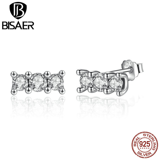 1847b5d3a BISAER 925 Sterling Silver Sparkling Elegance, Clear CZ Stone Stud Earrings  Wedding Jewelry Brincos WEUS487