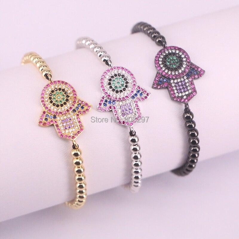 10Pcs Hamsa Hand Charm Bracelets Adjustable Braiding Macrame CZ Bracelet Jewelry