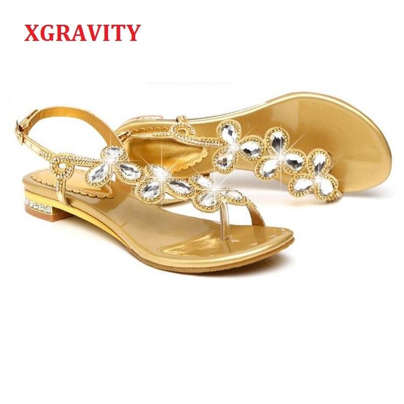 Angemessen Xgravity Weibliche Schuhe Neue Damen Casual Blatt Flache Schuhe Sexy Kristall Design Frauen Sandale Heißer Damen Flip Flop Schuhe Sandalen A262 Professionelles Design