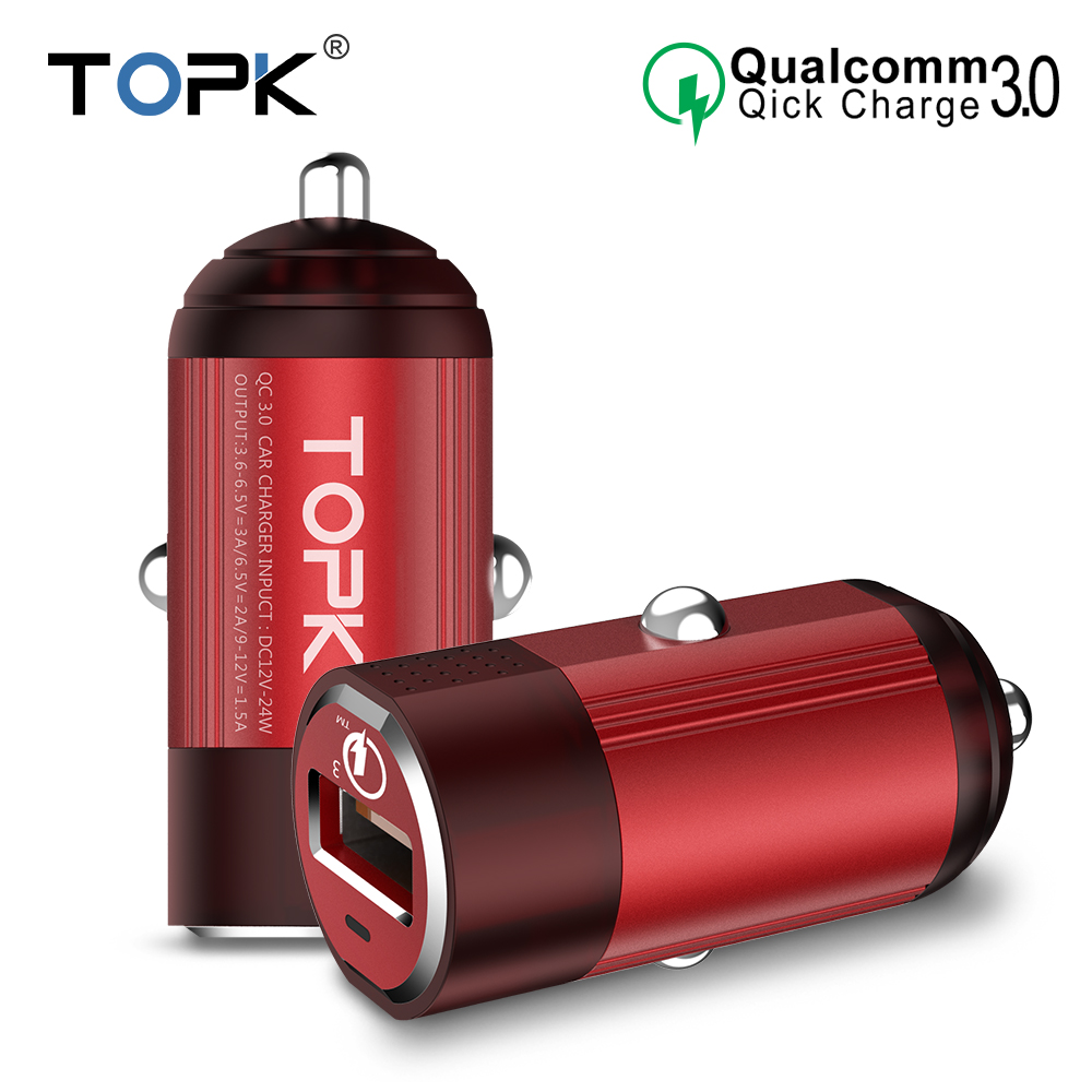 TOPK Mini USB 1 port Car Charger Quick Charge 3.0 Universal Travel Adapter Car Fast Charger for iPhone Samsung Xiaomi Huawei LG