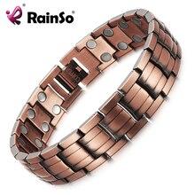 RainSo אדום נחושת מגנטי צמיד לגברים נשים 2 שורה מגנט בריא ביו אנרגיה צמידים & צמידי 2019 אב יום מתנה