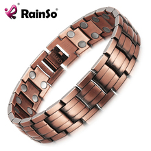 RainSo Red Copper Magnetic Bracelet for Men Women 2 Row Magnet Healthy Bio Energy Bracelets & Bangles 2019 Fathers Day Gift