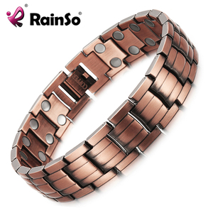 Image 1 - RainSo Red Copper Magnetic Bracelet for Men Women 2 Row Magnet Healthy Bio Energy Bracelets & Bangles 2019 Fathers Day Gift